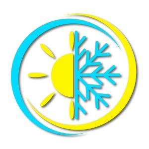 icon of the sun next to a snowflake